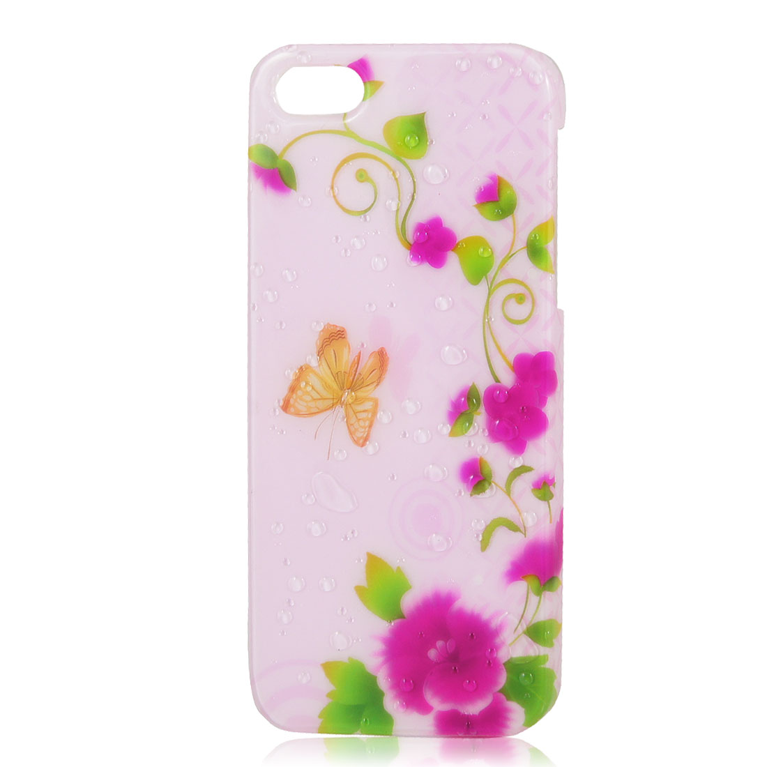 Pink Floral Butterfly 3D Water Drop Waterdrop Hard Back Case Cover for iPhone 5 5G