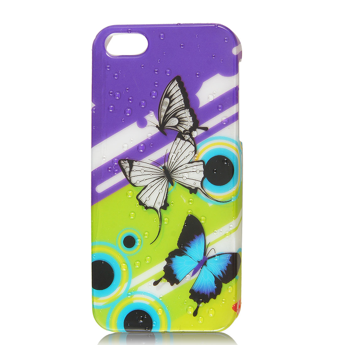 Purple Green Butterfly 3D Waterdrop Design Hard Back Case Cover for iPhone 5 5G