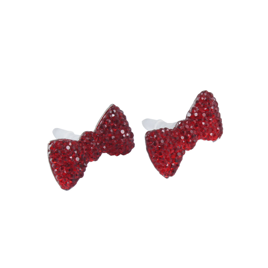 2 Pcs Bling Red Crystal Bow 3.5mm Anti Dust Earphone Ear Cap Plug