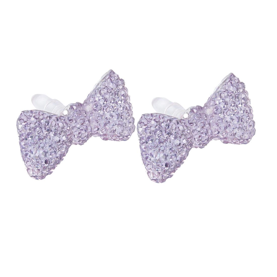 2 x Glitter Light Purple Crystal Bow 3.5mm Anti Dust Earphone Plug