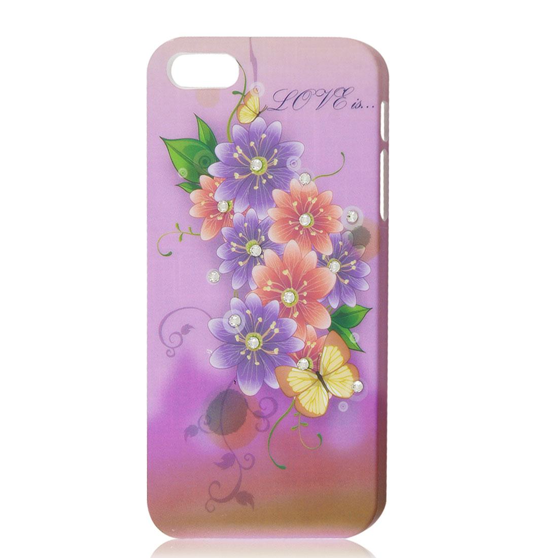 Light Purple Flower Glitter Bling Rhinestone Hard Back Case Cover Shell for iPhone 5 5G