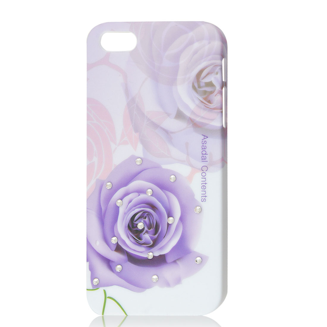 Light Purple Rose Glitter Bling Rhinestone Hard Back Case Cover for iPhone 5 5G