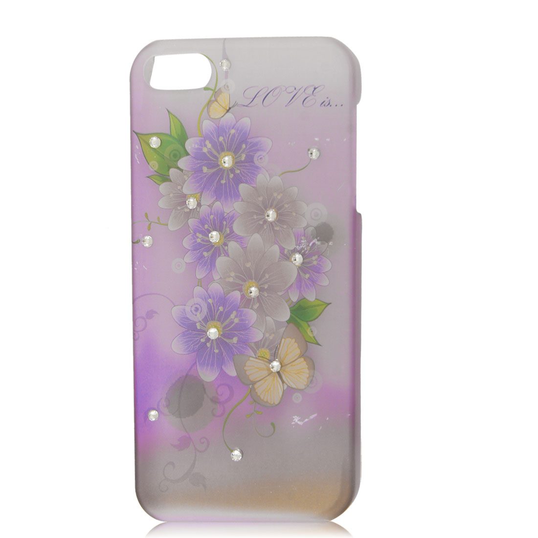 Clear Purple Floral Glitter Bling Rhinestone Hard Back Case Cover Skin for iPhone 5 5G