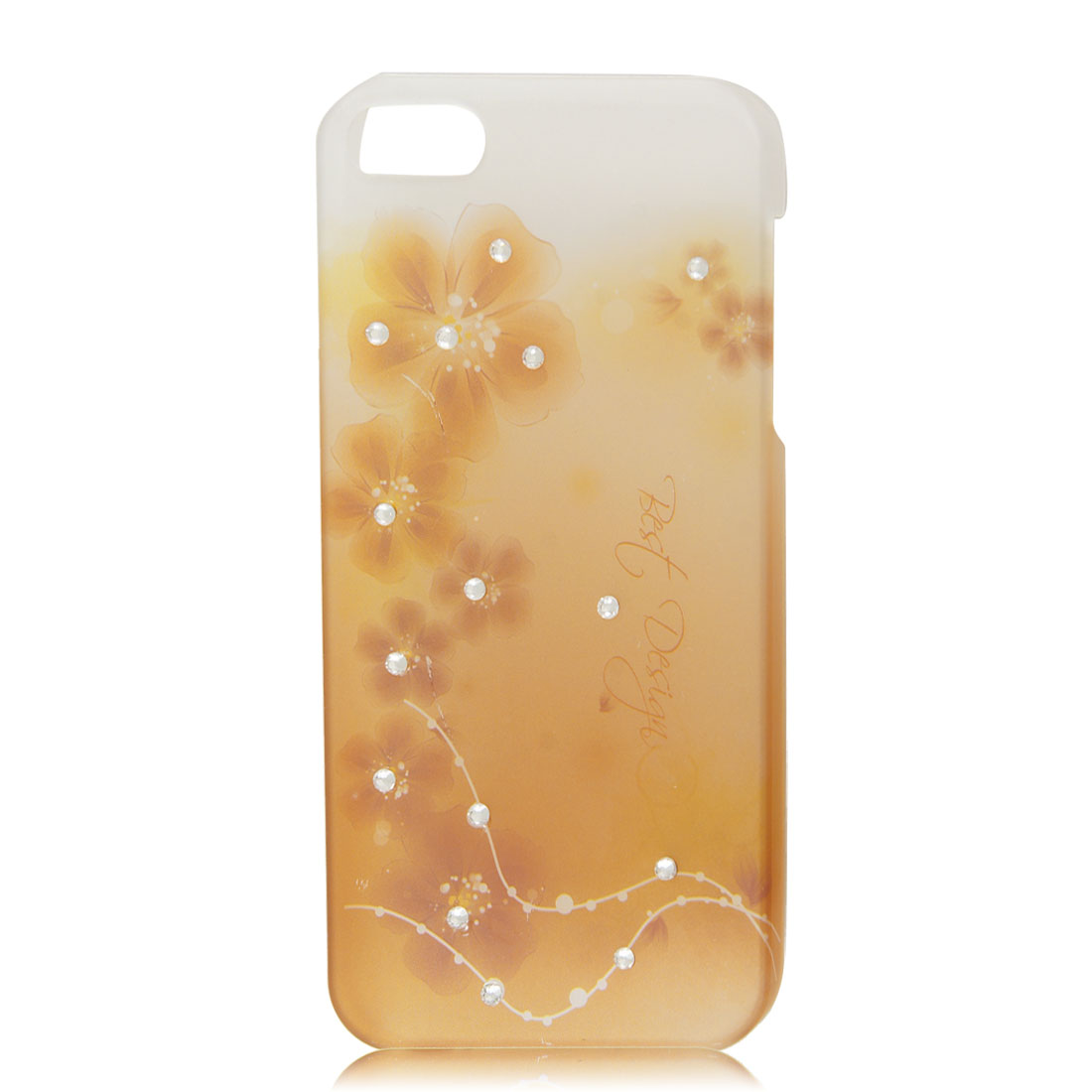 Clear Brown Flower Glitter Bling Rhinestone Hard Back Case Cover for iPhone 5 5G