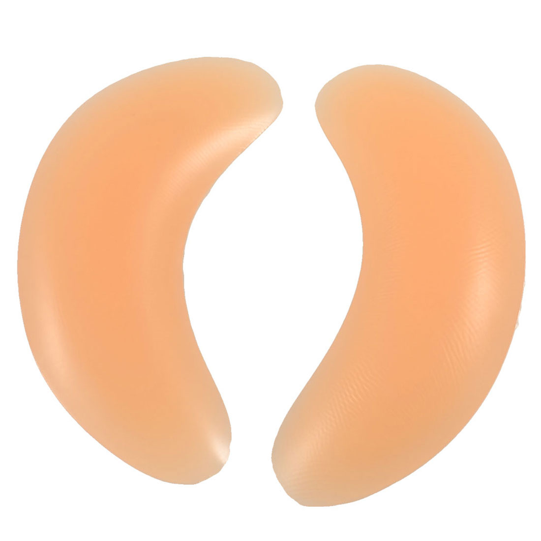 Ladies Pair Moon Shape Silicone Breast Enhancer Insert Light Orange