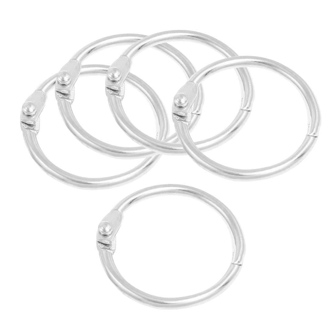 5 x Silver Tone 30mm OD Looseleaf Binder Rings for Scrapbooking Book
