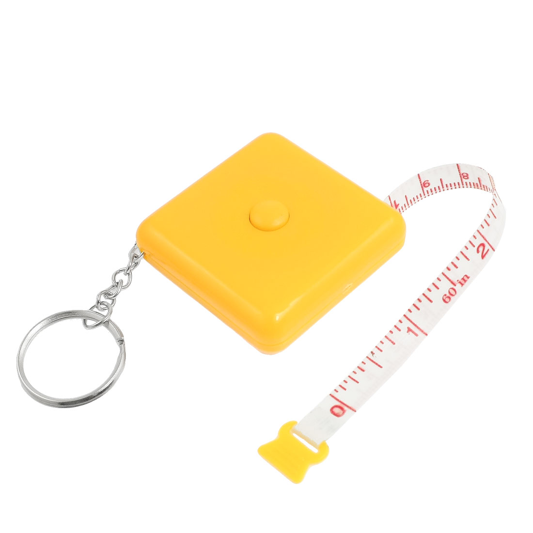 1.5M Yellow Square Plastic Shell Retractable Measure Tape w Keychain