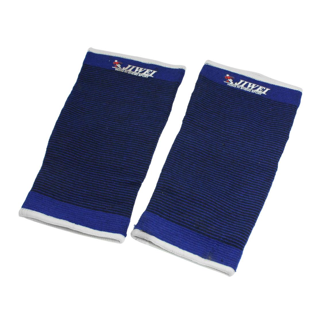 2 Pcs Sports Black Blue Pinstriped Elastic Crus Calf Support Sleeve