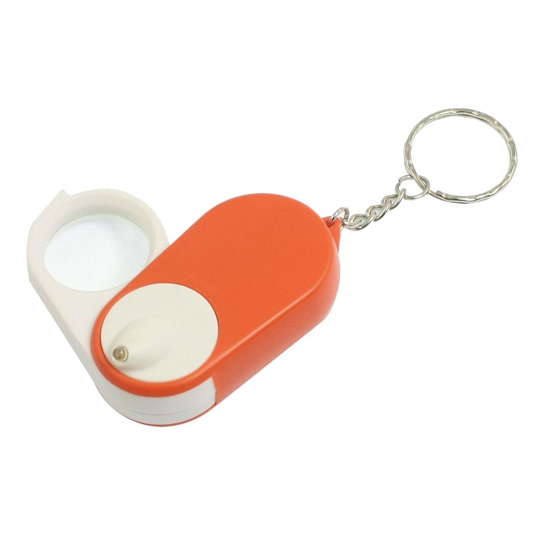 Orange White Shell Illuminant LED Light 4X Magnifying Glass w Keychain