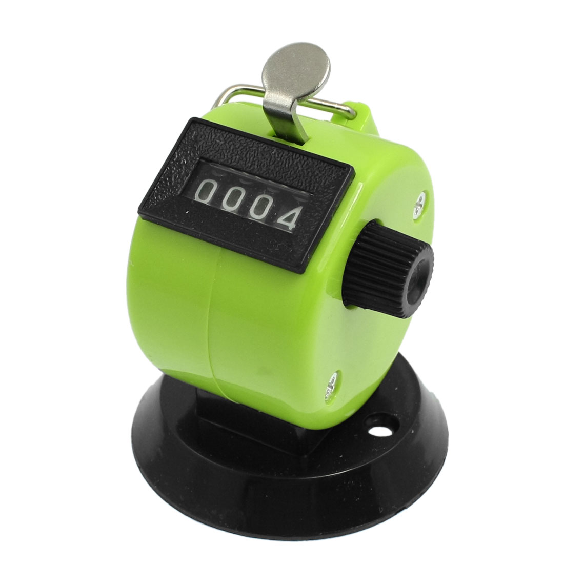 Round Base Resettable Hand Clicker Golf 4 Numbers Tally Counter Green Black