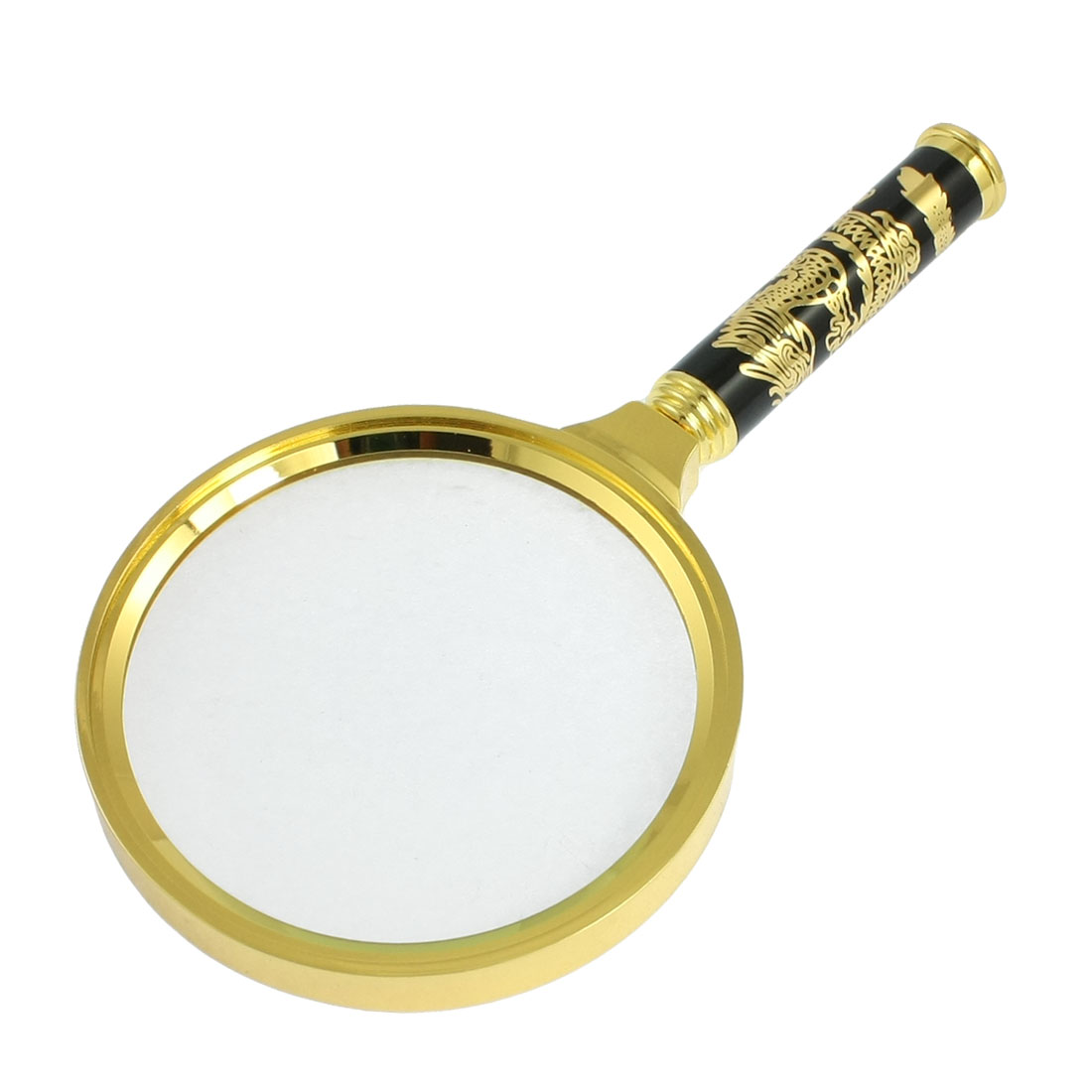 Detachable Handle 4X 90mm Magnifier Magnifying Glass Gold Tone Black