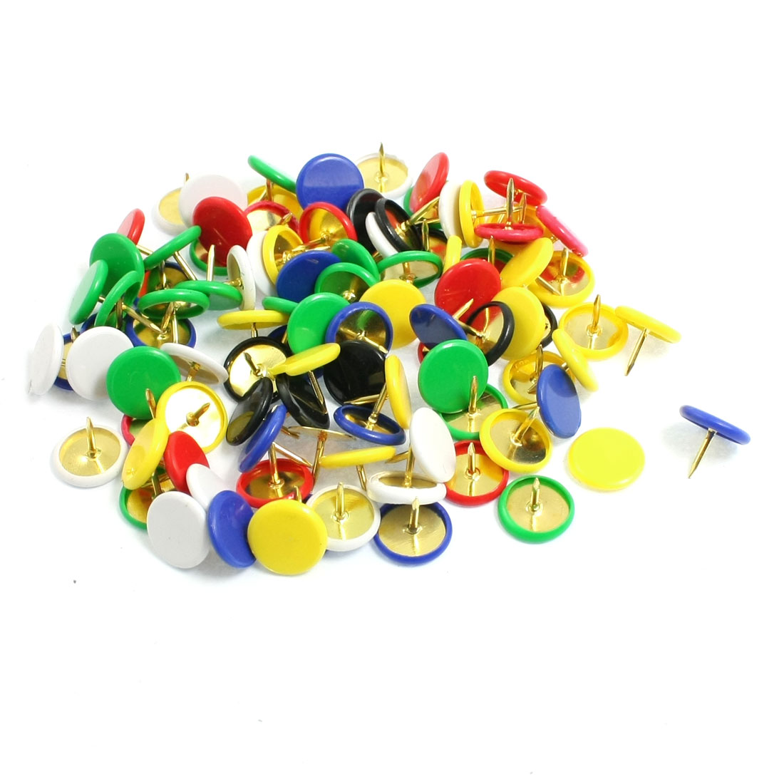 Office Plastic Round Head Map Photo Push Pin Thumb Tack Assorted Color 95 Pcs