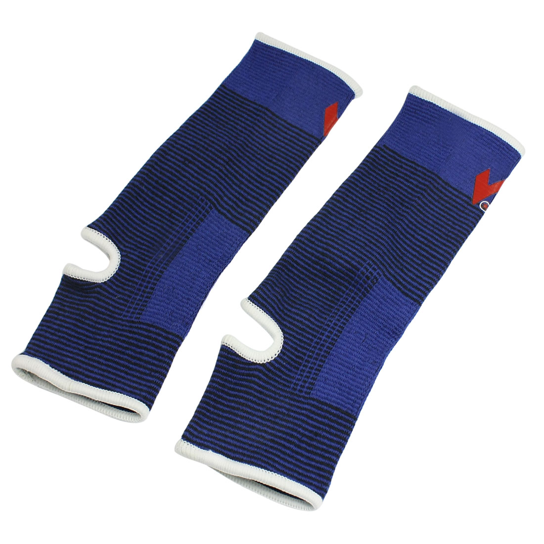 2 Pcs Sports Black Blue Pinstriped Elastic Ankle Support Protectors