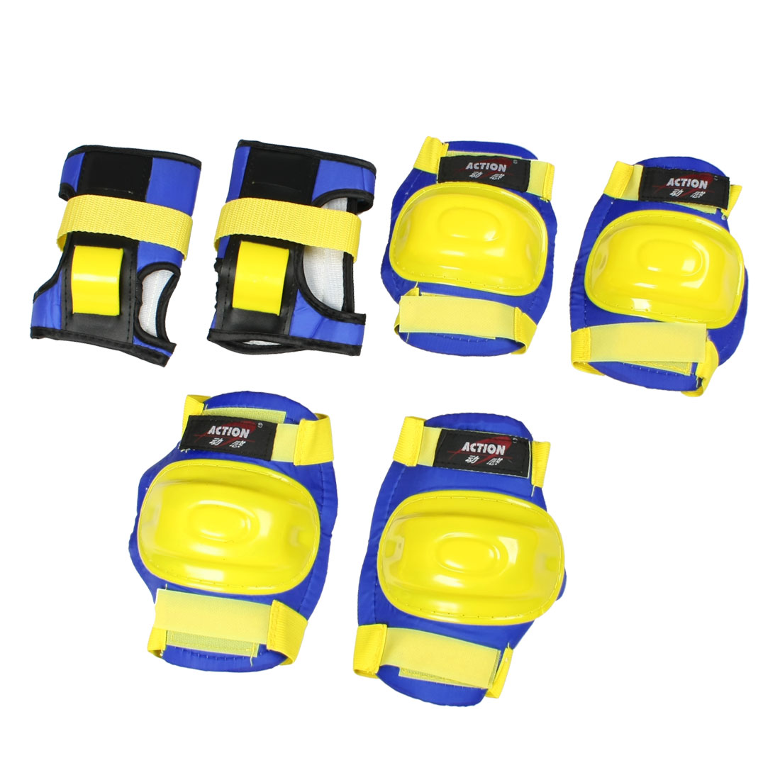 Adult Yellow Blue Detachable Closure Wrist Palm Elbow Knee Support Brace Set