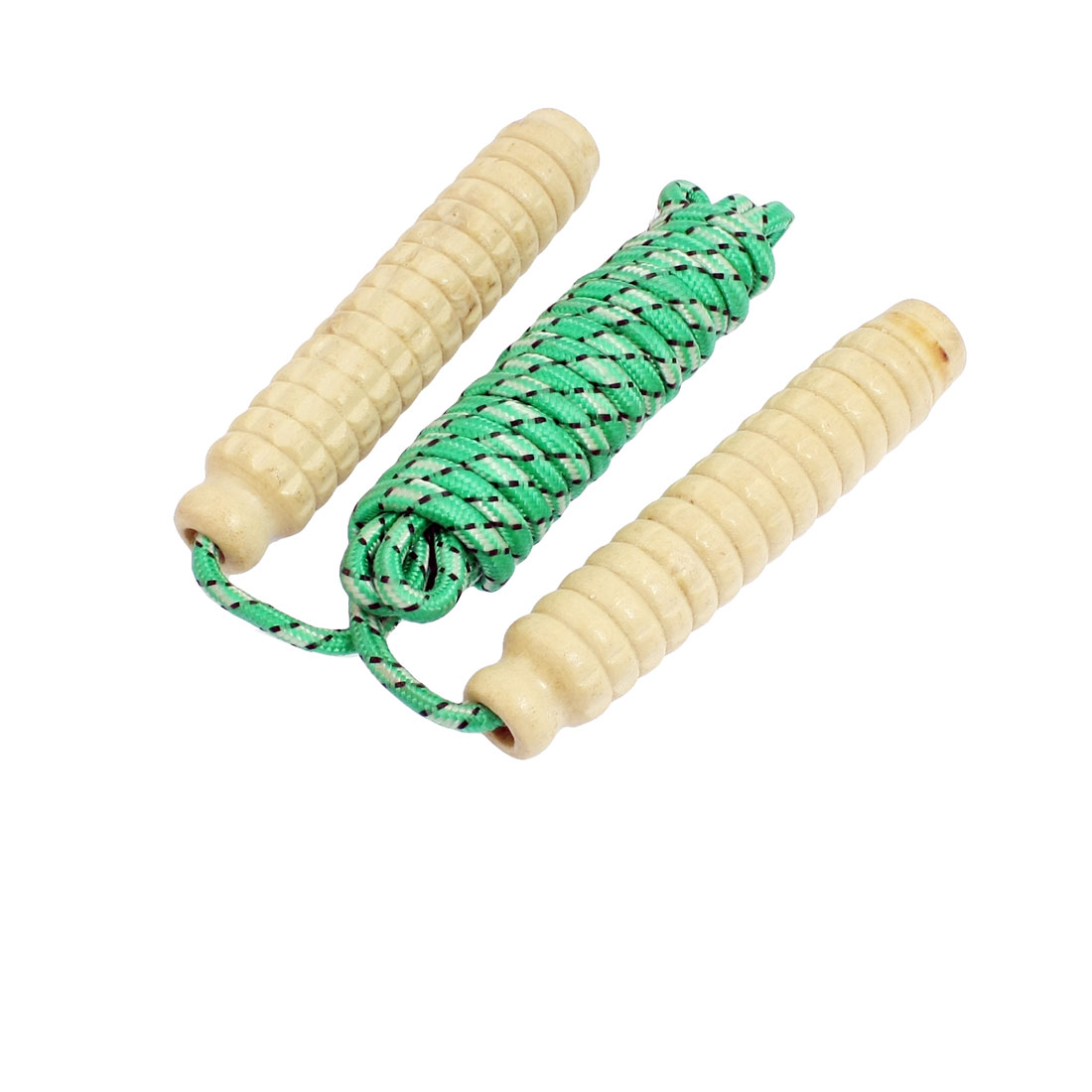 Exercise Training Wood Wooden Handle Green Skipping Rope 2.3M