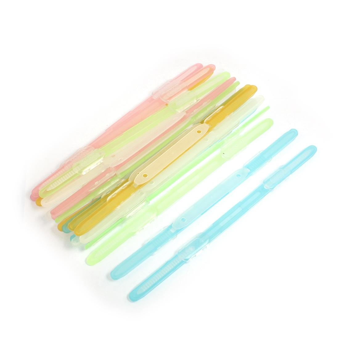 20Pcs 6cm Hole Distance Multicolor Plastic Prong Documents Clip Paper Fasteners