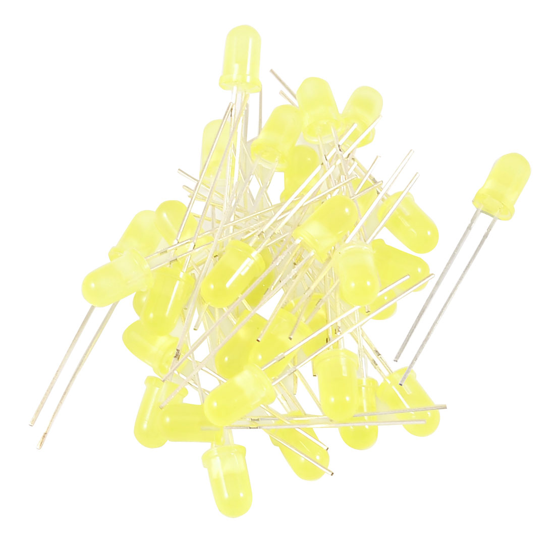 30 Pieces 5mm 2 Terminals Round Head Superbright Yellow LED Light Diodes