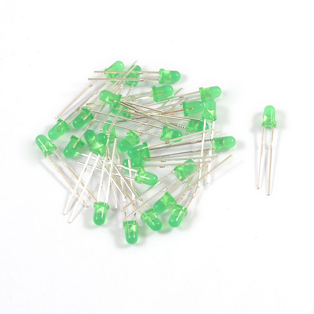 30 Pieces 2 Terminals Round Head Superbright Green LED Light Diodes