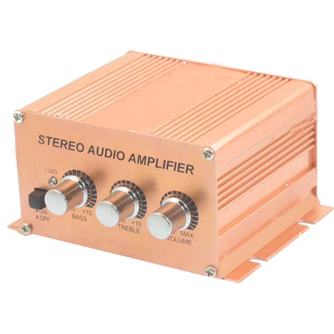 SA-1217 500W Aluminum Case Cat Auto Stereo Audio Amplifier Copper Tone
