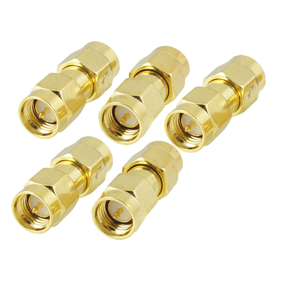 5 Pcs Gold Tone SMA Male to SMA Male Connector RF Coaxial Adapter Connector