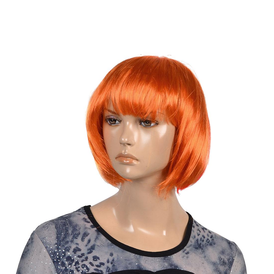 Ladies Orange Synthetic Fiber bob Style Short Straight Hair Wig