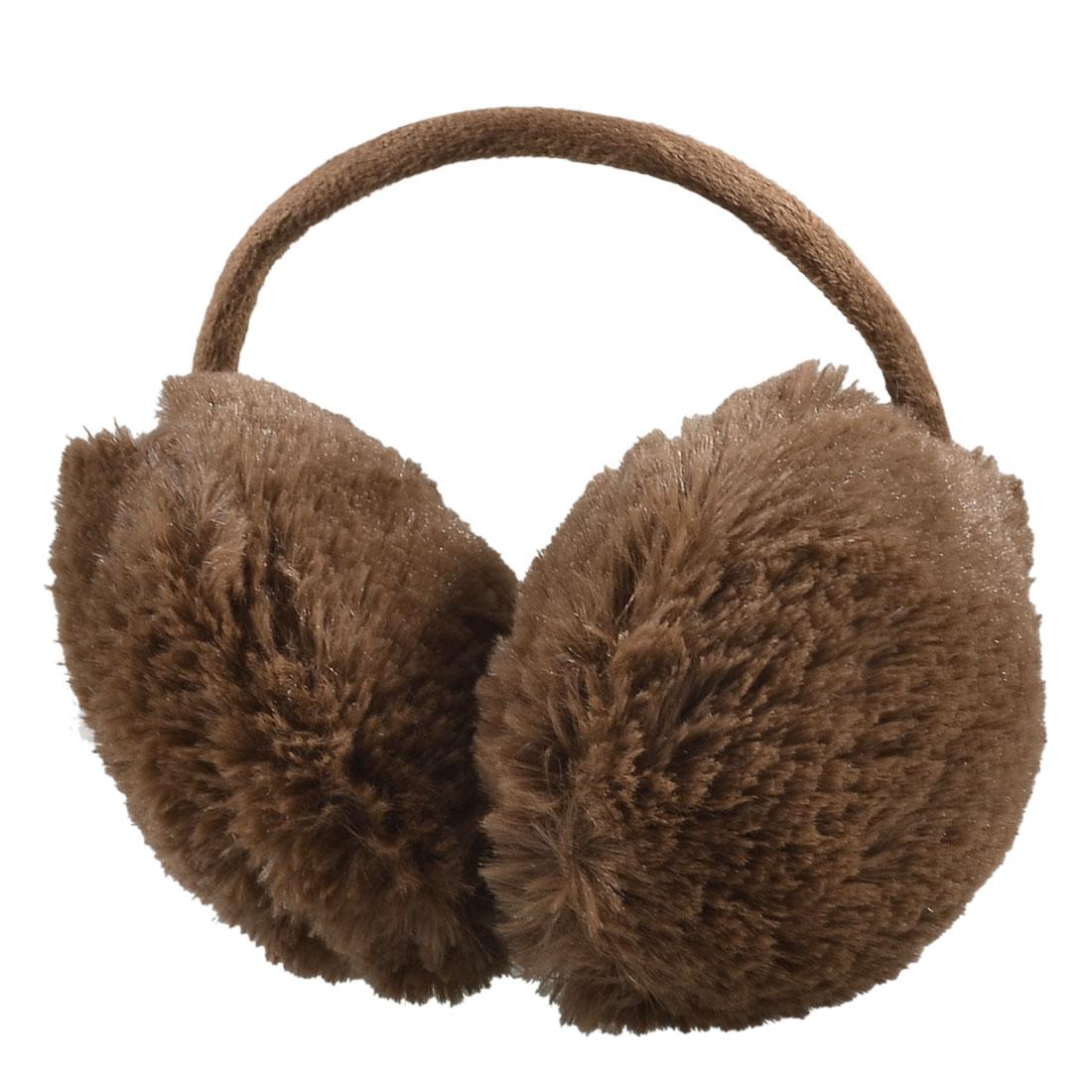 Lady Pure Plush Comfy Warmer Headband Back Ear Muffs Earmuffs Brown