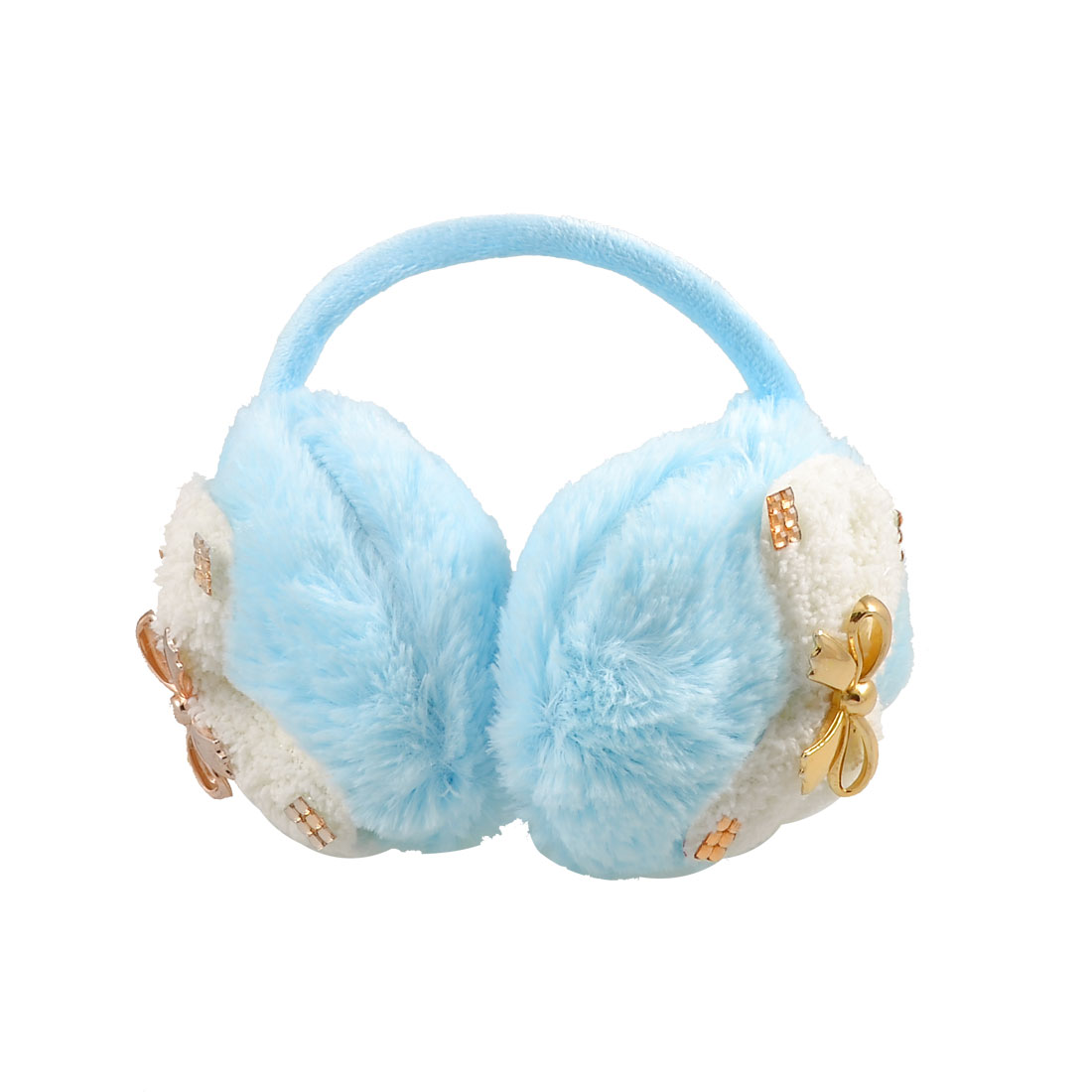 Gold Tone Metal Bowknot Blue Soft Plush Ear Cover Warm Back Earmuffs
