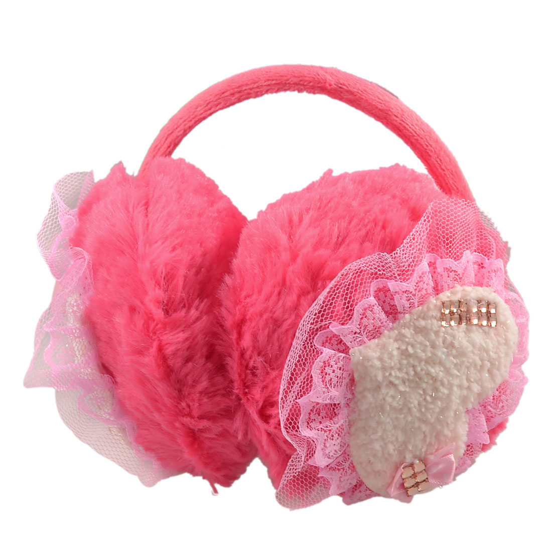 Lady Crystal Lace Heart Plush Fluffy Watermelon Red Ear Cover Back Earmuffs