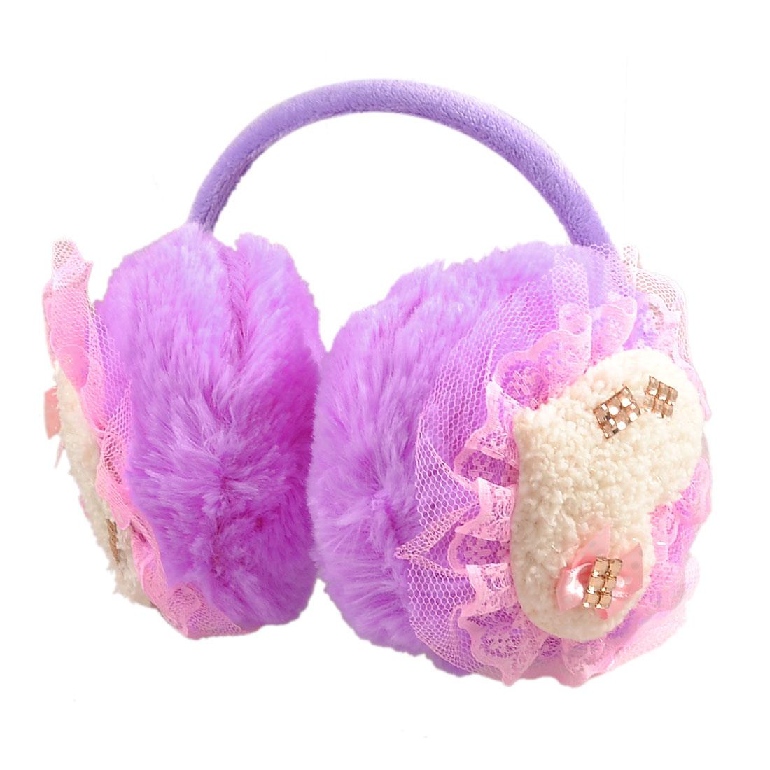Glittery Crystal Heart Detail Plush Fluffy Ear Cover Back Earmuffs Purple