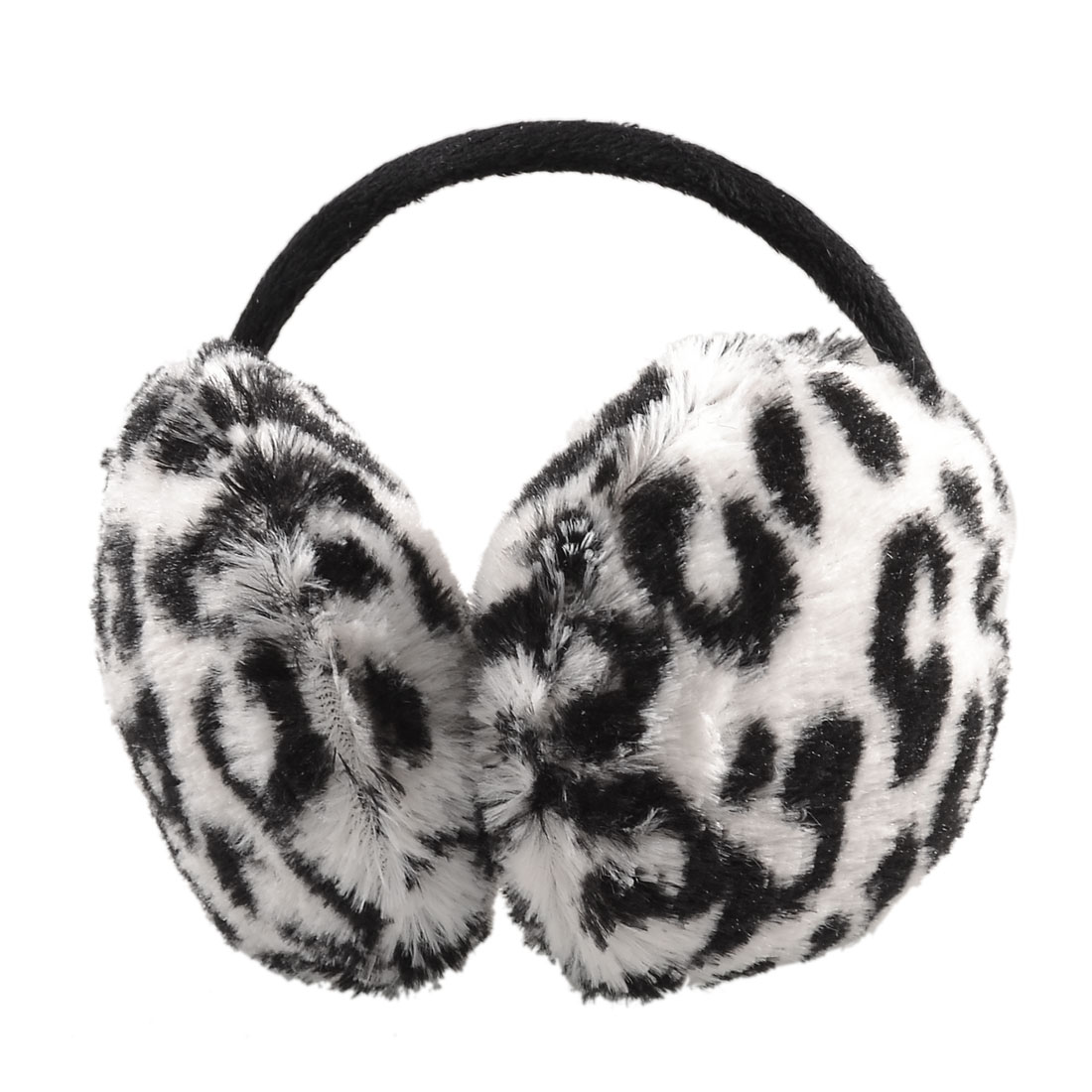 Fluffy Plush Pad Black Leopard Printed Back Ear Mmuffs Earmuffs White
