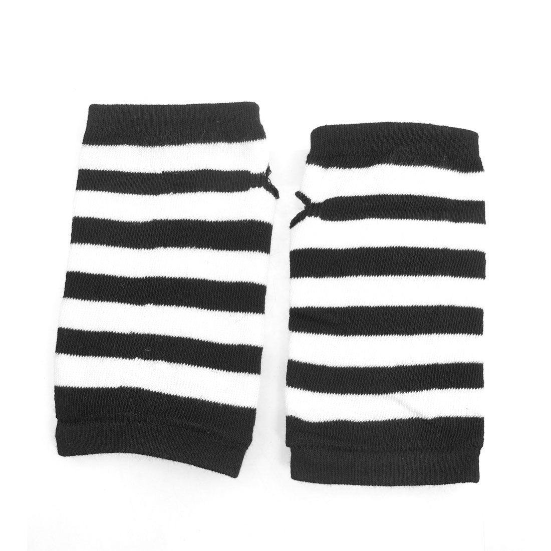 Women Striped Fingerless Mitten Knit Elastic Gloves Black White