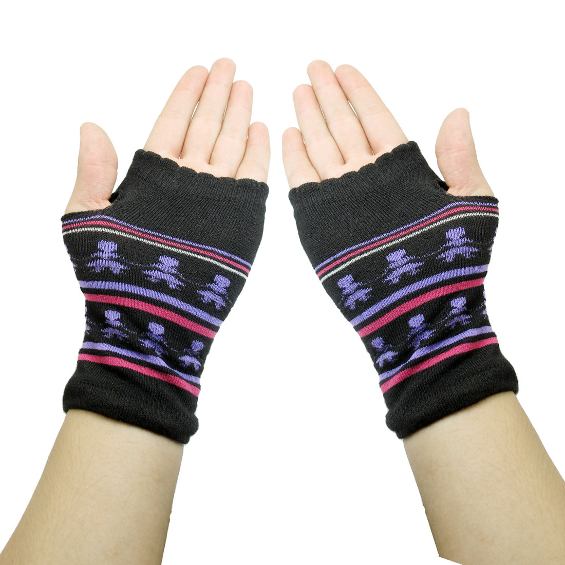Cartoon Girl Pattern Knitted Fingerless Winter Gloves Black for Ladies