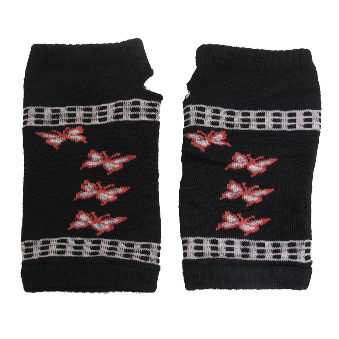 Butterfly Pattern Knitted Fingerless Winter Gloves Black for Ladies
