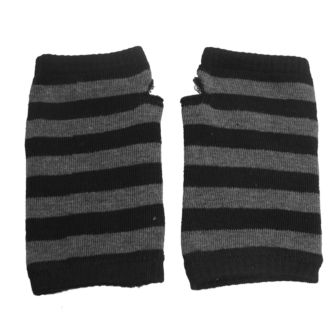Black Gray Strips Pattern Knitted Fingerless Gloves for Ladies