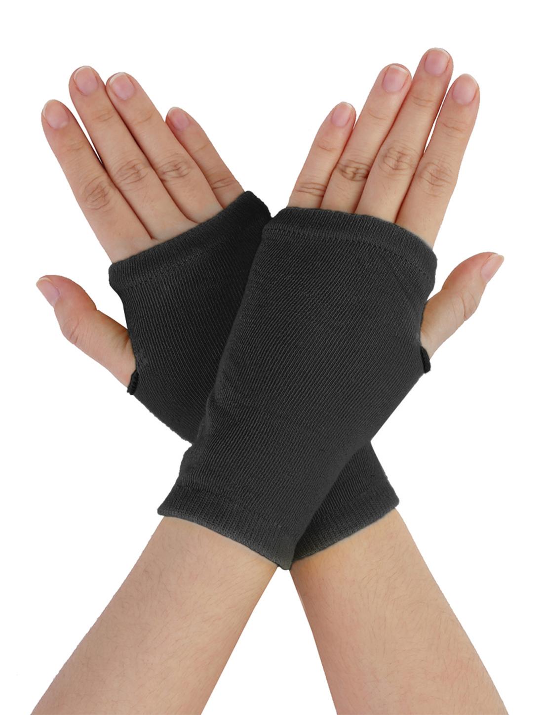 Dark Gray Knitted Stretch Fingerless Winter Gloves for Women