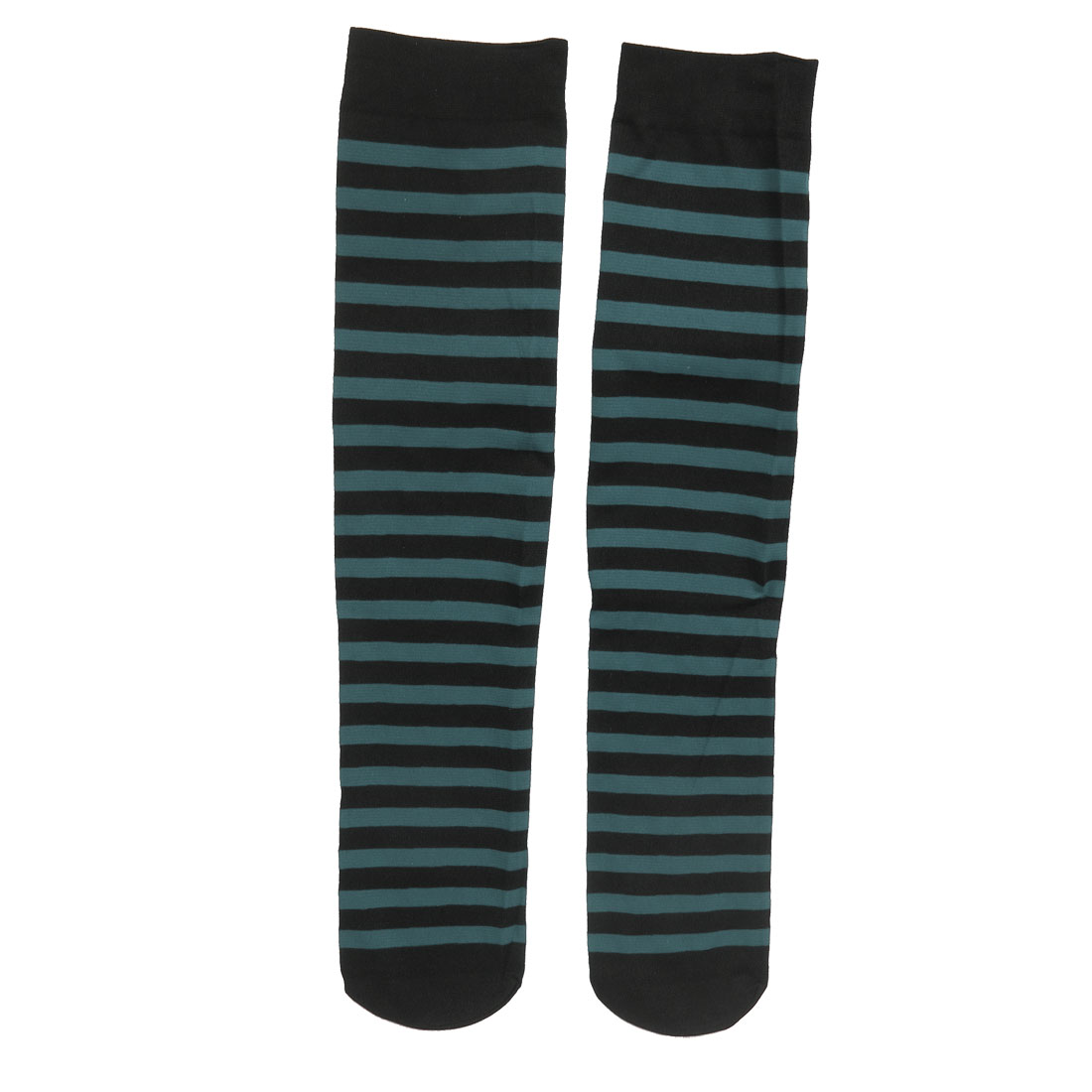 Woman Black Green Striped Stretch Knee High Socks Stockings