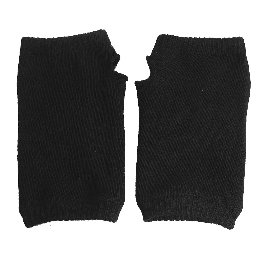 Black Knitted Elastic Fingerless Winter Gloves for Women