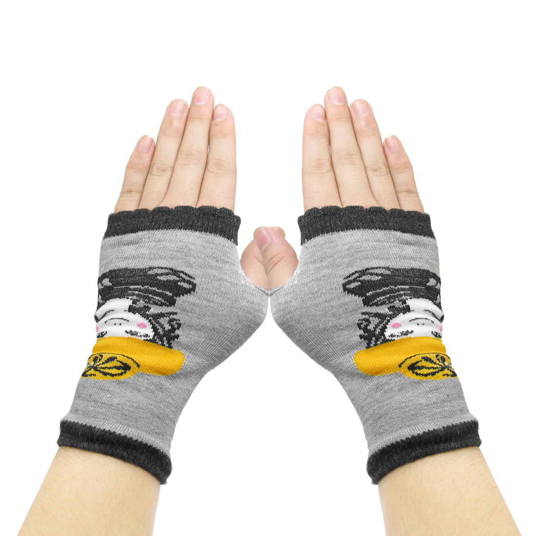 Women Sky Girl Prints Fingerless Mitten Knit Elastic Gloves Black Gray