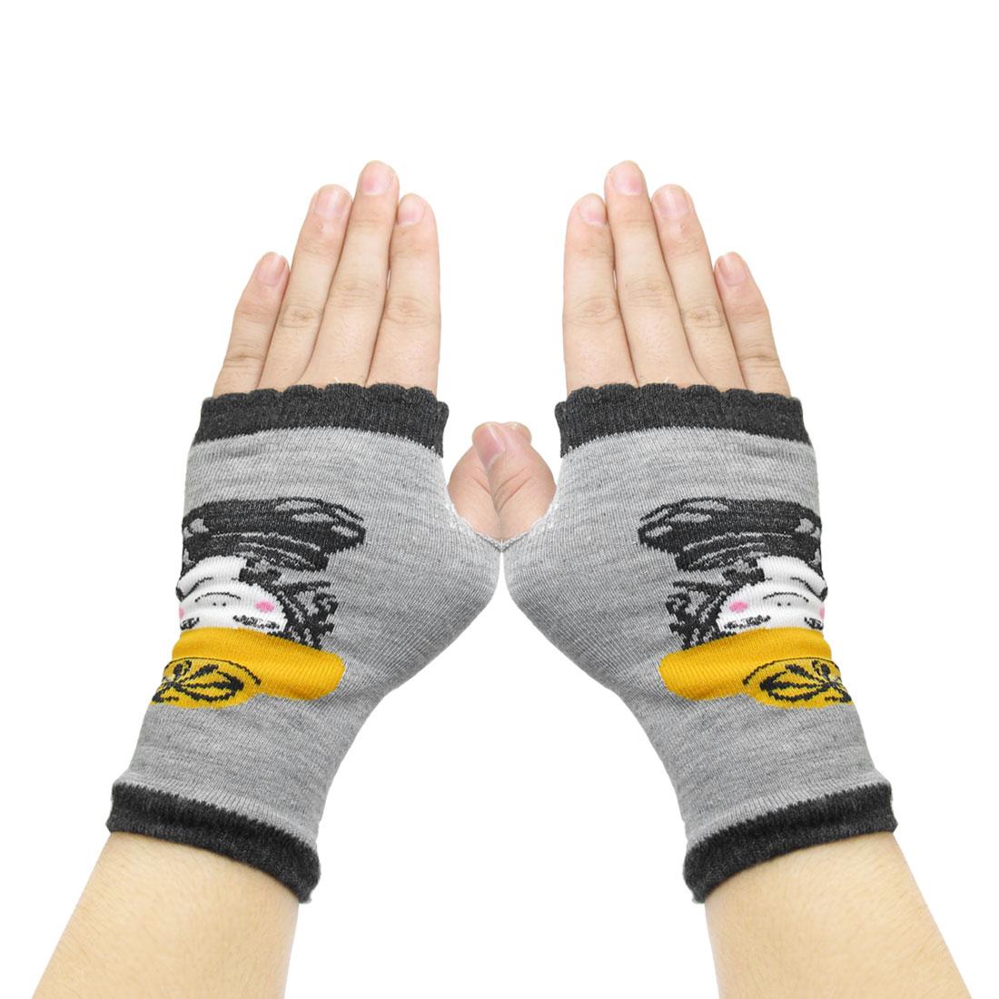 Women Sky Girl Prints Fingerless Mitten Knit Elastic Gloves Black Gray
