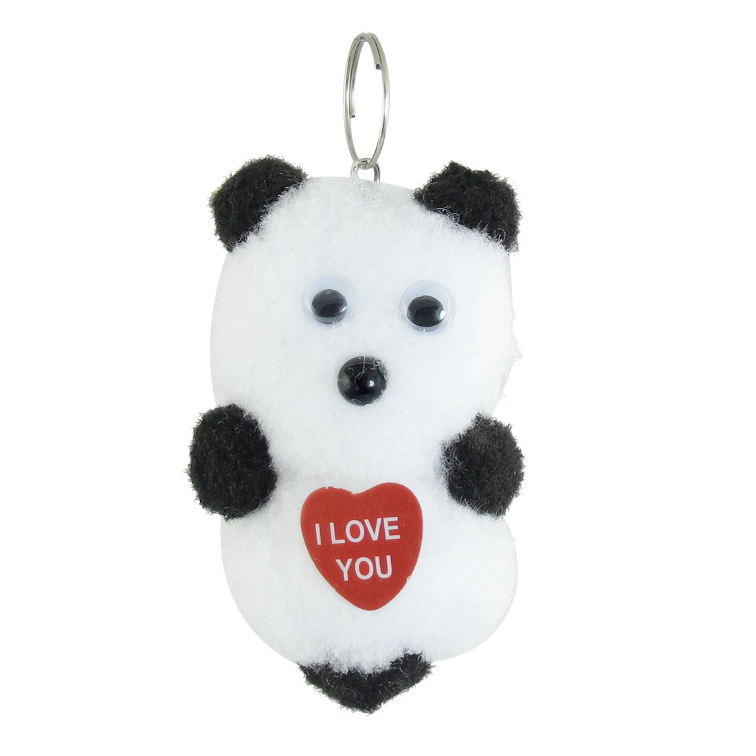 White Black Cotton Blend Panda Shaped Pendant for Handbag