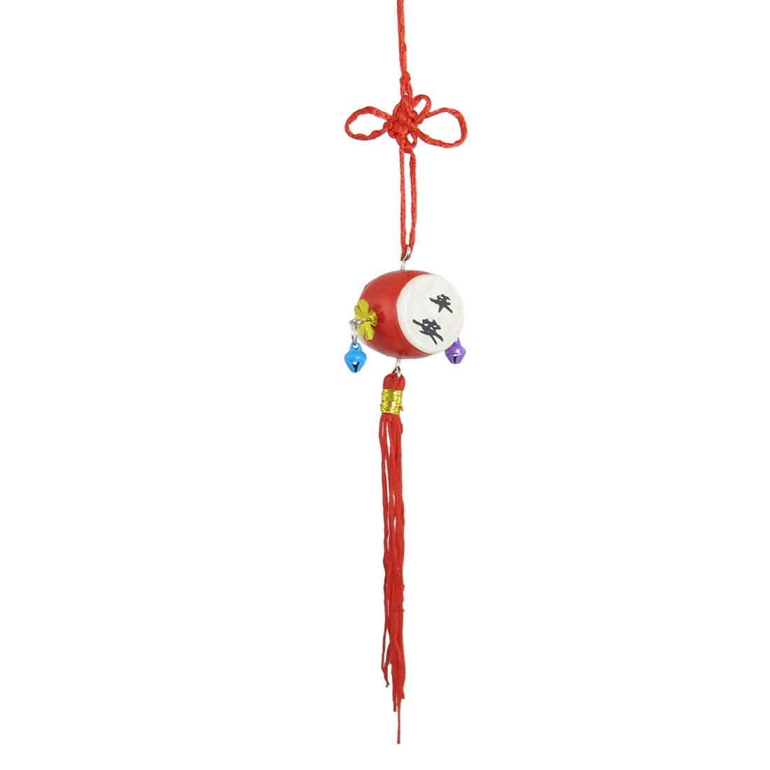 Vehicle Red Tassel Wood Drum Pendant Chinese Knot Ornament Hanging