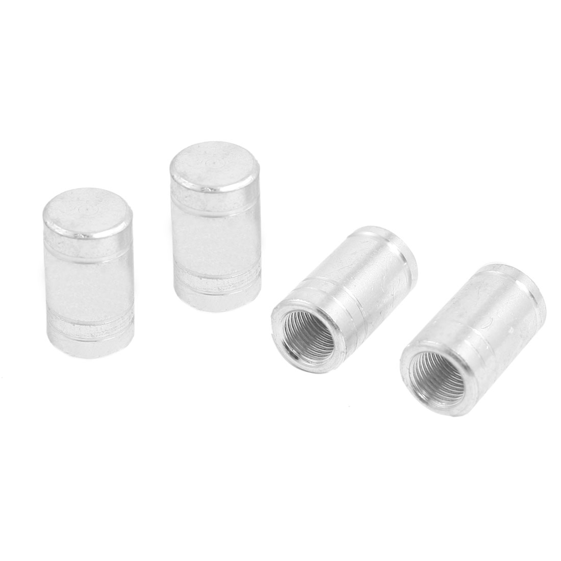4 x Metal 7mm Thread Car Bike Tyre Tire Valve Stem Caps Covers Silver Tone