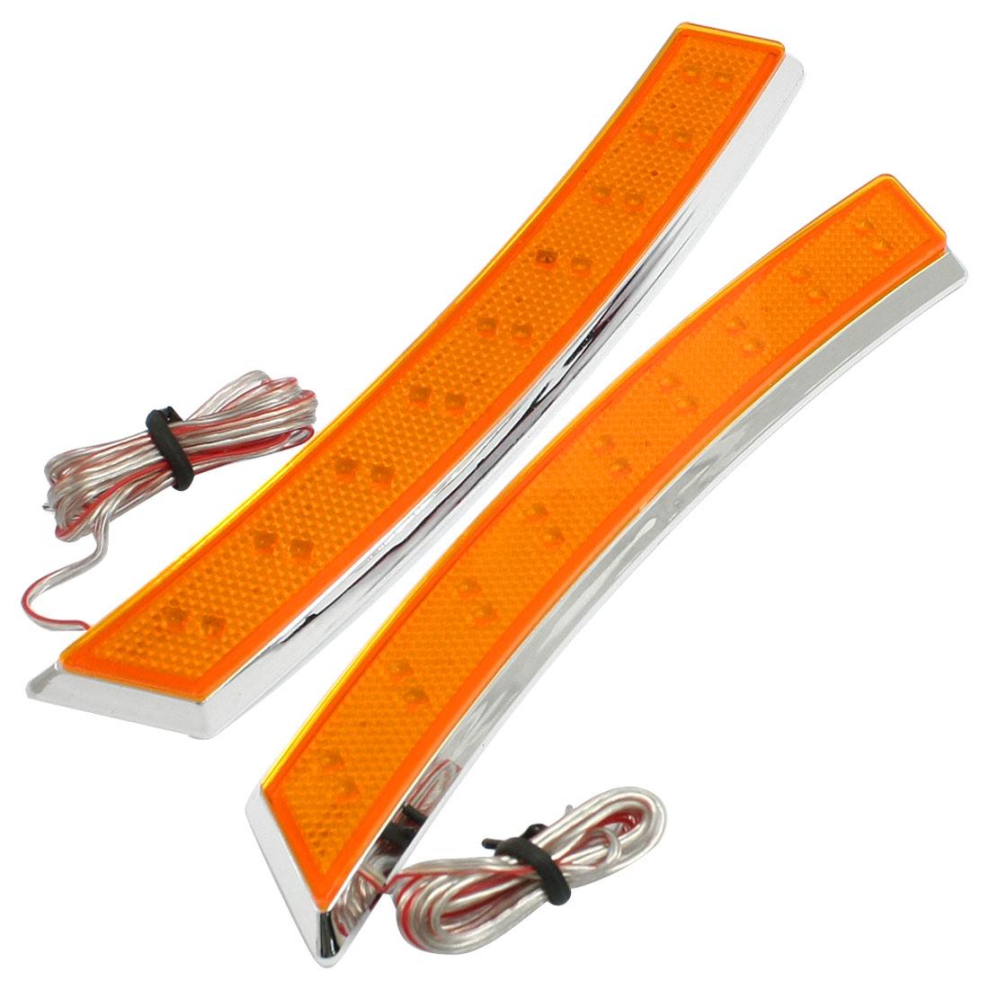Car Wheel Eyebrow Side Marker Adhesive 18 LED Turn Signal Light Orange 2 Pcs