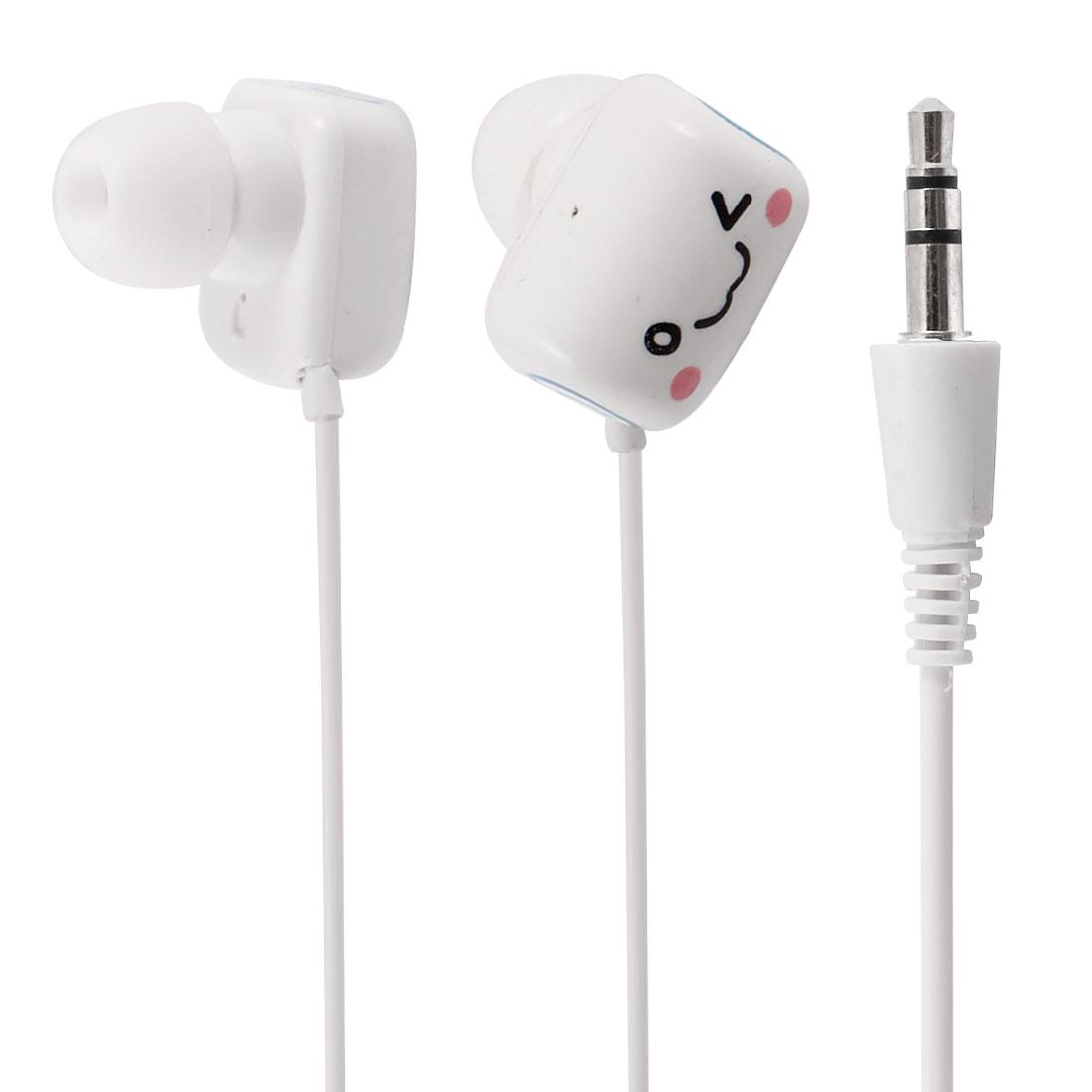 3.5mm Plug White Blue in Ear Headphone Earphone Headset for Smartphone