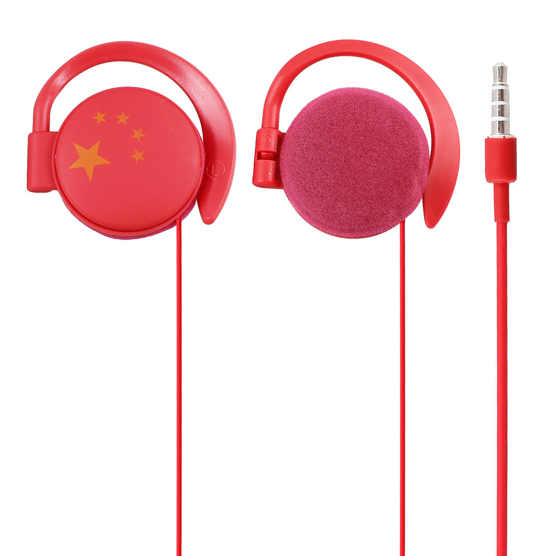 China Flag 3.5mm Jack Red Clip on Stereo Headphone Earphone Headset 1.1M Long