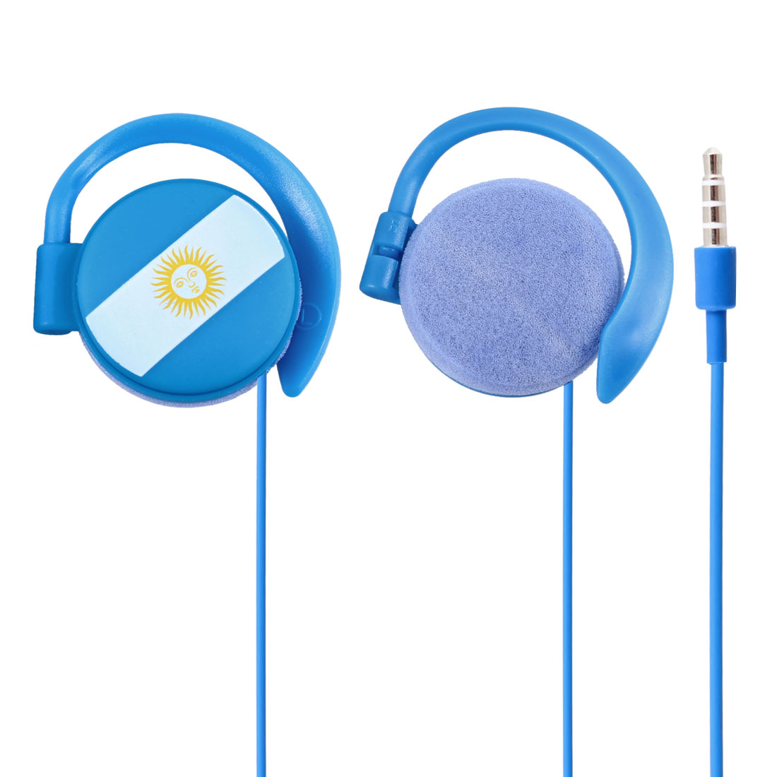 Argentina Flag 3.5mm Jack Blue Clip on Stereo Headphone Earphone Headset 1.1M Long