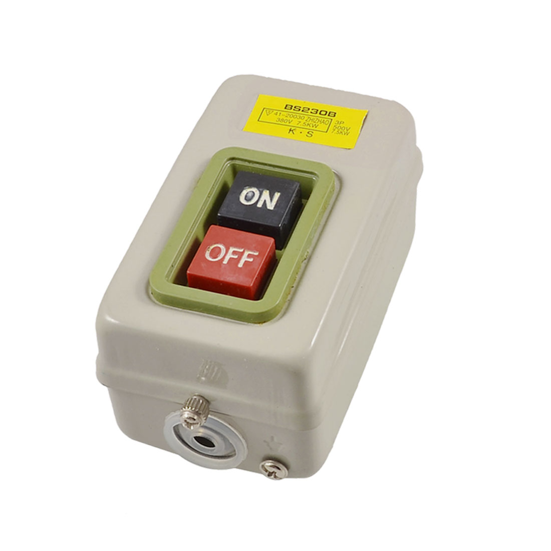 BS230B 3P 500V 7.5KW Screw Terminal Self Lock On/Off Power Pushbutton Switch