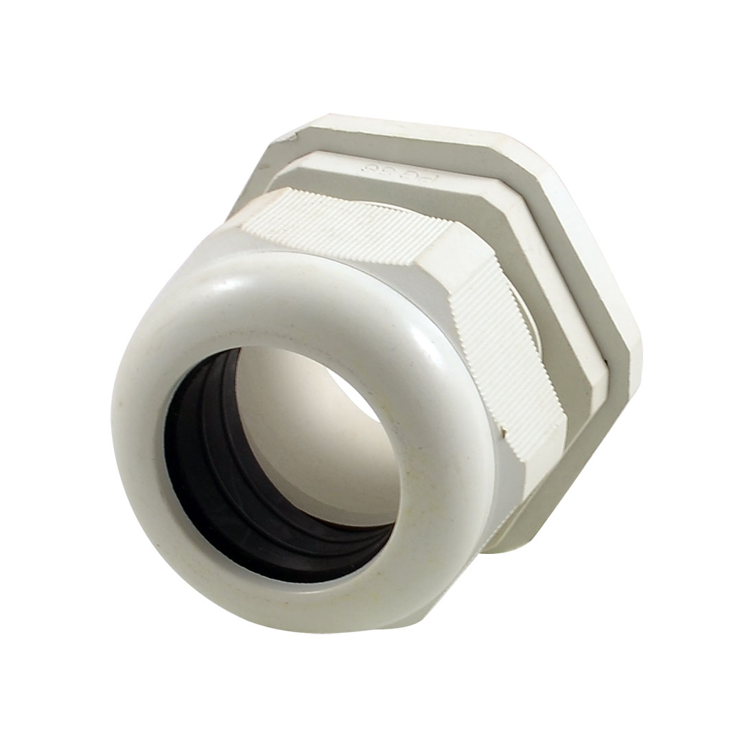 White Plastic 47mm Thread Outside Dia PG36 Waterproof Cable Connector