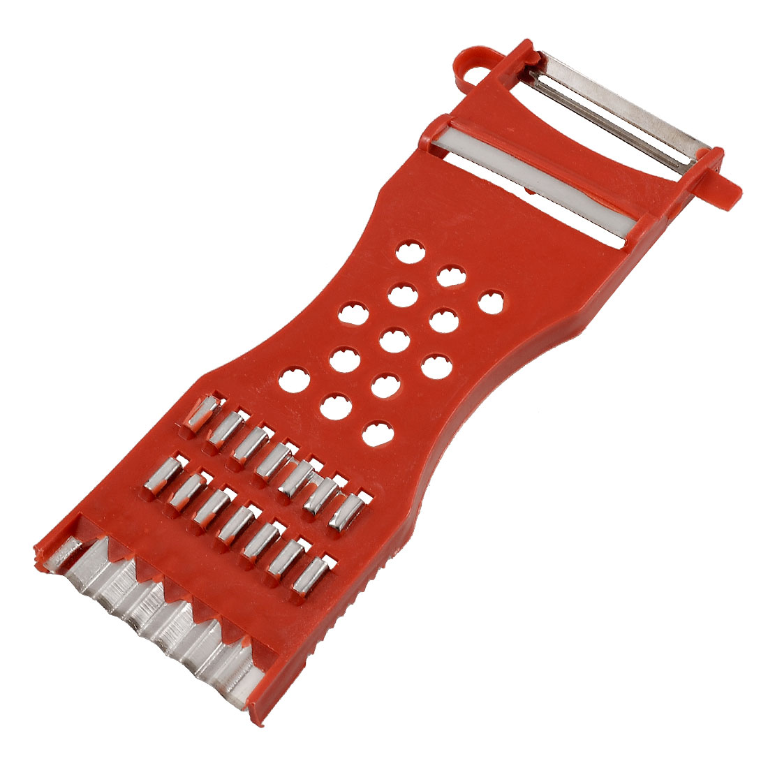 Red Plastic 2 in 1 Kitchen Grater Slicer Vegetable Potato Holder Cutter