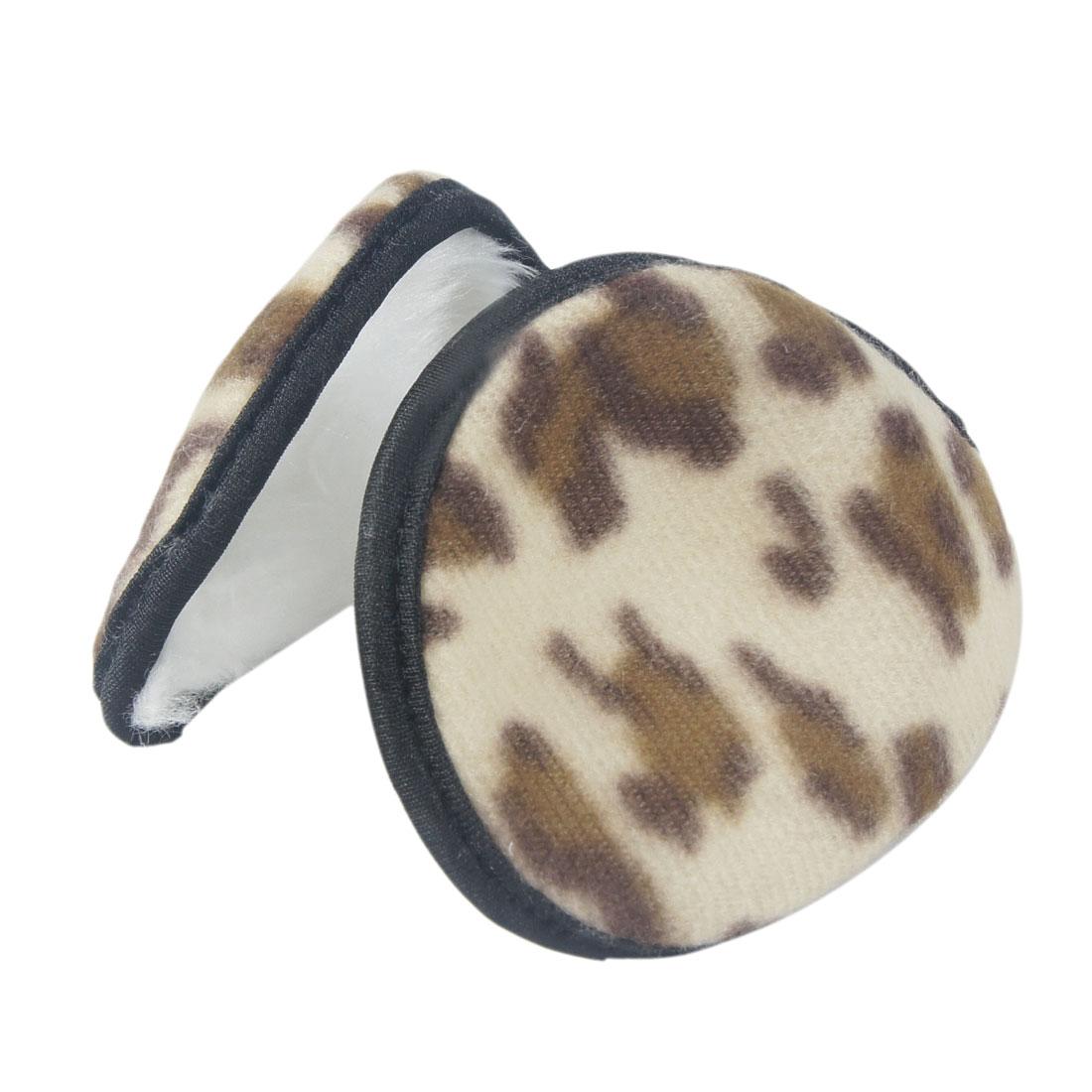 """3.1"""" Tall White Fluffy Lined Pad Leopard Pattern Ear Warmer Back Earmuffs"""